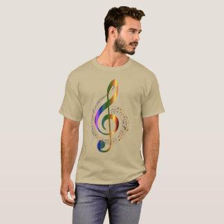 Camiseta Redemoinho colorido dourado das notas da música do