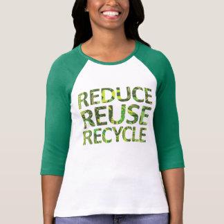Camiseta Reduza o t-shirt do verde do reciclar reusar