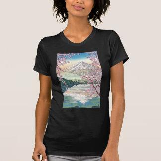 Camiseta Refrigere a arte oriental da árvore de cereja do