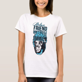 Camiseta relaxe amigos não rustle, para monkey