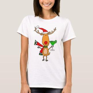 Camiseta Rena engraçada que bebe a arte do Natal de