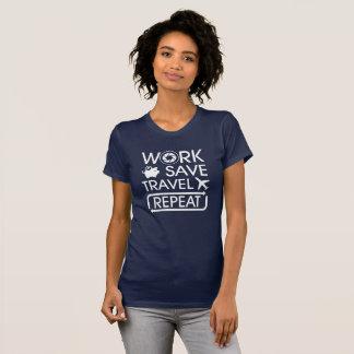 Camiseta Repetição do viagem das economias do trabalho -