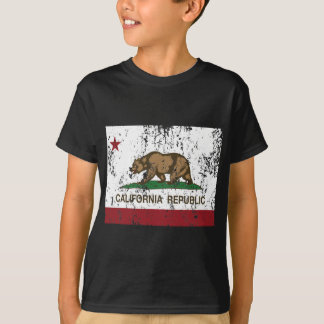 Camiseta república da bandeira de Califórnia afligida