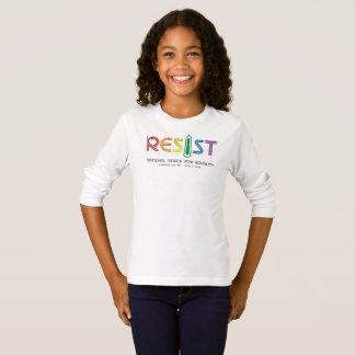 Camiseta Resista o t-shirt longo da luva da menina