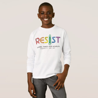 Camiseta Resista o t-shirt longo da luva do menino