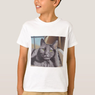 Camiseta Retrato cinzento do animal de estimação do gato