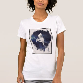 Camiseta Retrato de uma menina de cabelo preta