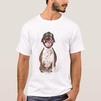 Camiseta retrato do cão do pugilista que boceja
