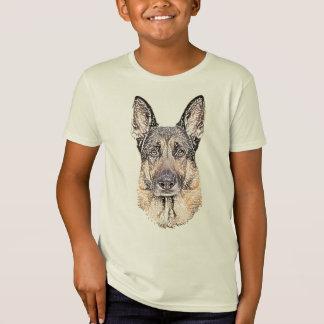 Camiseta Retrato esboçado de um cão de german shepherd