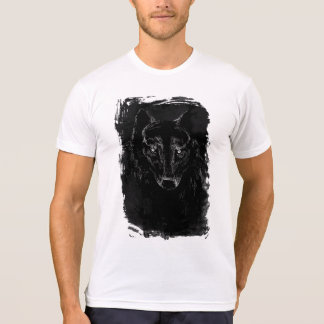 Camiseta Retrato preto do lobo no Grunge BG