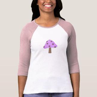 Camiseta retro do cogumelo das bolinhas roxas