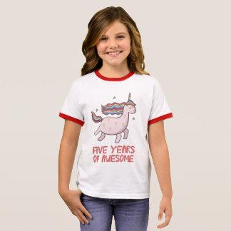 Camiseta Ringer 5o T-shirt do presente de aniversário cinco anos