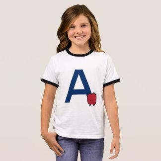 Camiseta Ringer A é para a aprendizagem da letra do ABC do