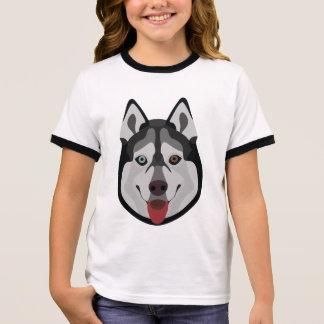 Camiseta Ringer A ilustração persegue o rouco Siberian da cara