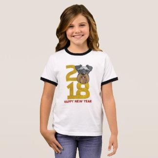 Camiseta Ringer Ano dos Schnauzers diminutos do ano novo do cão