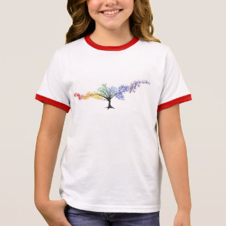 Camiseta Ringer Árvore de borboletas coloridas