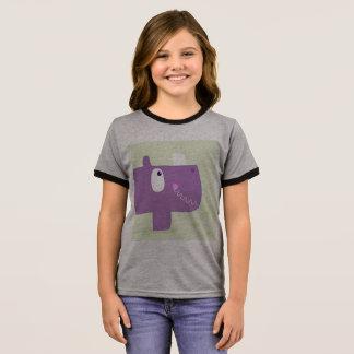 Camiseta Ringer Caçoa o tshirt dos desenhistas com rinoceronte