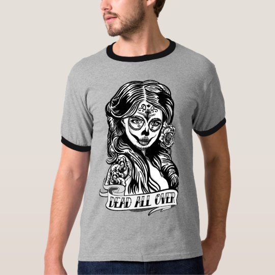 Camiseta Ringer Caveira Mexicana Dead All Over