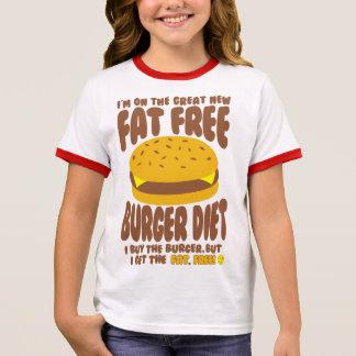 Camiseta Ringer Dieta livre de gordura do hamburguer