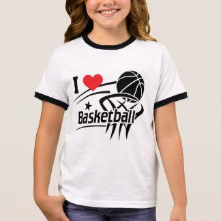 Camiseta Ringer Eu amo o basquetebol