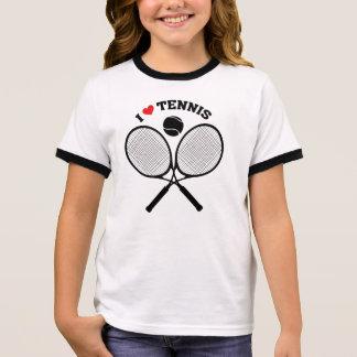 Camiseta Ringer Eu amo o t-shirt cruzado tênis do tênis das