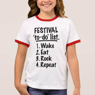 Camiseta Ringer Lista do tumulto do ` do festival' (preto)