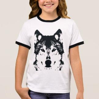 Camiseta Ringer Lobo preto da ilustração