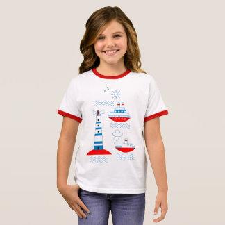Camiseta Ringer Mar, navios, faróis