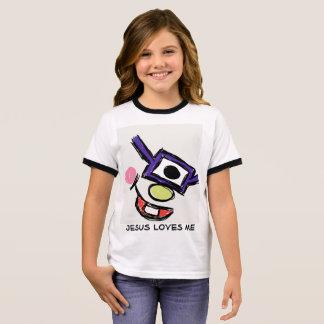 Camiseta Ringer O monstro com vidros, Jesus ama-me