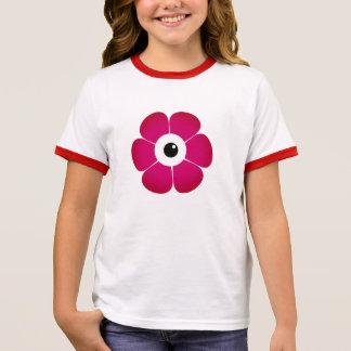 Camiseta Ringer o olho da flor cor-de-rosa