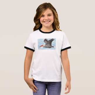 Camiseta Ringer O t-shirt da criança do pelicano de Brown
