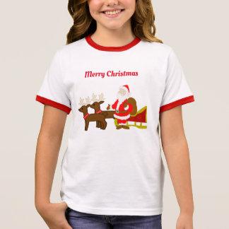 Camiseta Ringer Papai Noel no trenó do Natal