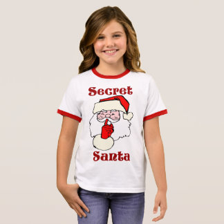 Camiseta Ringer Papai noel secreto no Natal