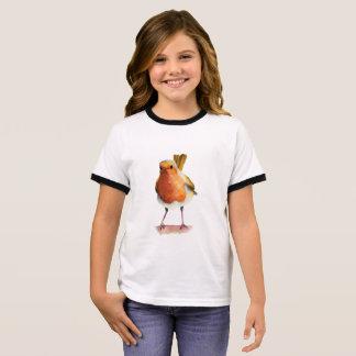 Camiseta Ringer Pintura da aguarela do pássaro do pisco de peito