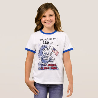 Camiseta Ringer Sereia no t-shirt das meninas dos EUA (campainha)