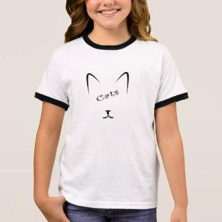 Camiseta Ringer silhueta da cara do gato