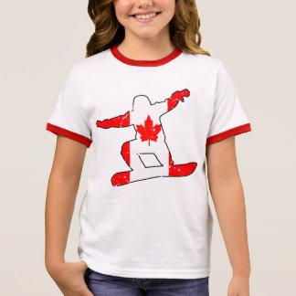 Camiseta Ringer SNOWBOARDER da folha de bordo (preto)