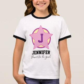 Camiseta Ringer Super-herói personalizado da menina com inicial e
