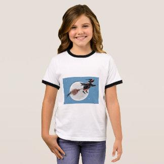 Camiseta Ringer T-Bruxa das meninas do Dia das Bruxas e seu gato