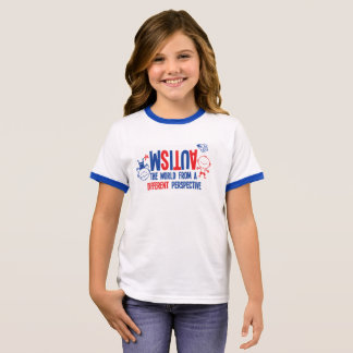 Camiseta Ringer T-shirt da consciência do autismo da menina -