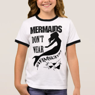 Camiseta Ringer T-shirt da sereia da menina do naturista/nudista