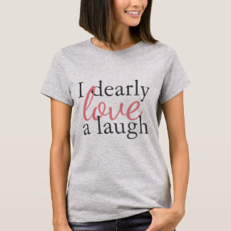 Camiseta Riso cinzento cor-de-rosa do amor das citações da