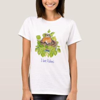 Camiseta Robins bonitos do amor de I, pisco de peito