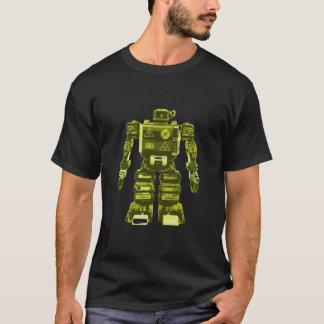 Camiseta Robô amarelo no preto - chique do geek da ficção