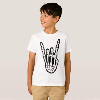 Camiseta Rocha de esqueleto da mão no t-shirt dos miúdos