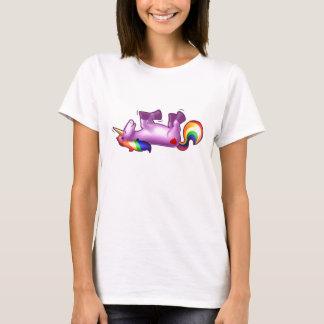 Camiseta Rolamento do unicórnio no riso do assoalho