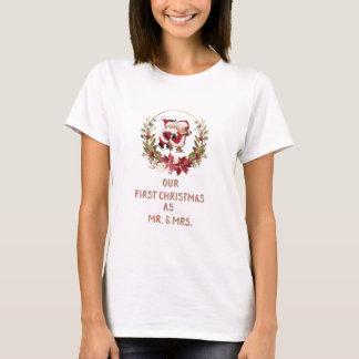 Camiseta Romântico nossa primeira grinalda da poinsétia do