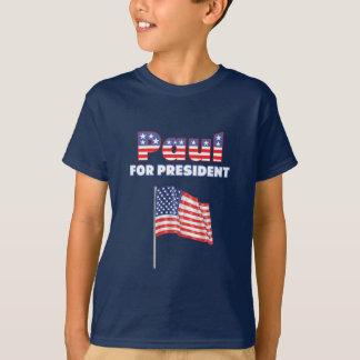 Camiseta Ron Paul para a bandeira americana do presidente