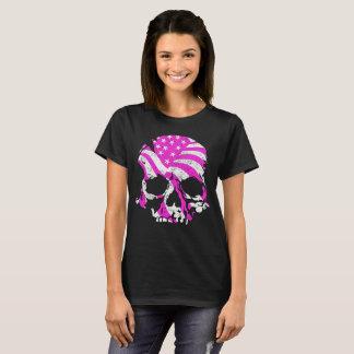 Camiseta Rosa americano do crânio