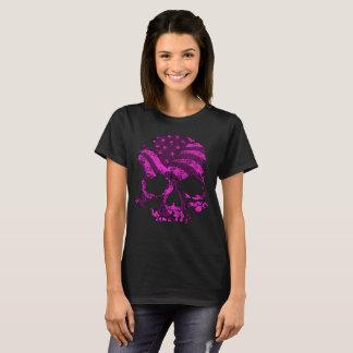 Camiseta Rosa americano dos crânios
